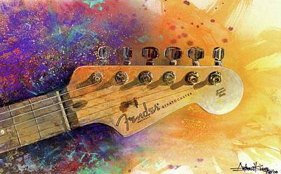 Watercolors Painting - Fender Head by Andrew King