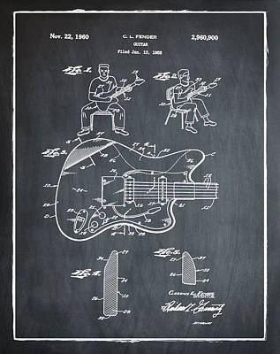 Vintage Photograph - Fender Jazzmaster Patent 1960 Slate by Bill Cannon