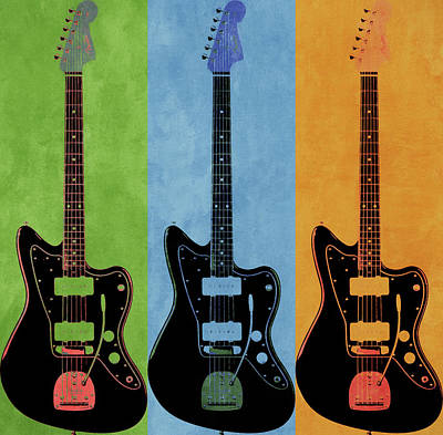 Mixed Media - Fender Pop Art Guitars by Dan Sproul