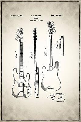 Guitar Player Digital Art - Fender Precision Bass Patent 1952 by Bill Cannon