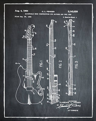 Sepia Chalk Photograph - Fender Stratocaster Patent 1964 Chalk by Bill Cannon
