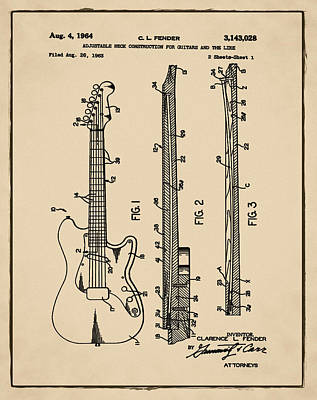 Fender Strat Digital Art - Fender Stratocaster Patent 1964 Sepia by Bill Cannon