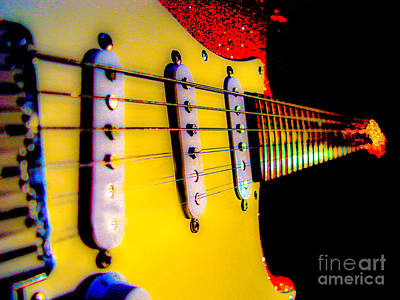 Photograph - Stratocaster Pop Art Red Fire Neck Series by Guitar Wacky