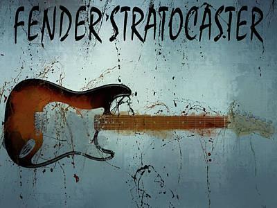 Music Mixed Media - Fender Stratocaster Splatter by Dan Sproul