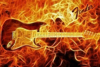 Ritchie Digital Art - Fender Stratocaster by Taylan Apukovska