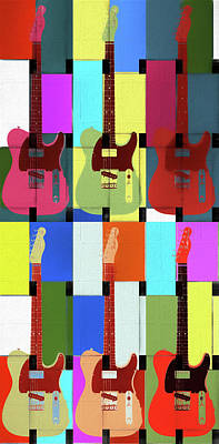 Mixed Media - Fender Telecaster Color Pop by Dan Sproul