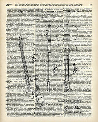 Old Style Drawing - Fender Telecaster Guitar Over Dictionary Page by Jacob Kuch