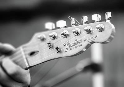 Photograph - Fender Telecaster Monochrome - Detail by Andrea Mazzocchetti
