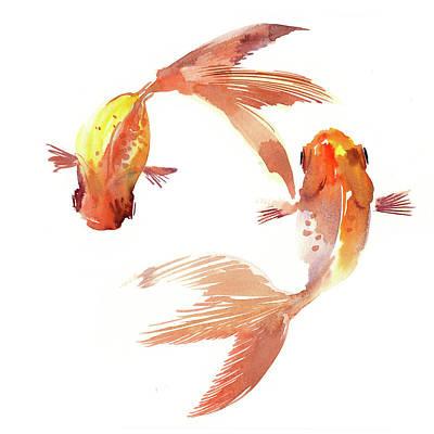 Goldfish Drawing - Feng Shui Koi Fish by Suren Nersisyan