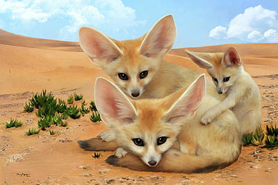 Art Print featuring the digital art Fennec Foxes by Thanh Thuy Nguyen