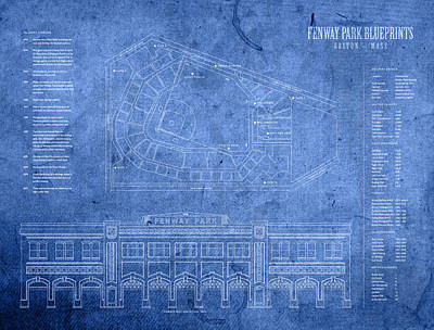 Baseball Stadiums Mixed Media - Fenway Park Blueprints Home Of Baseball Team Boston Red Sox On Worn Parchment by Design Turnpike