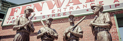 Fenway Park Photograph - Fenway Park Bronze Statues Panorama Photo by Paul Velgos