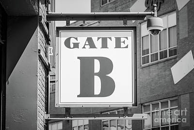 Fenway Park Photograph - Fenway Park Gate B Sign Black And White Photo by Paul Velgos