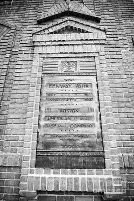 Fenway Park Home Of The Boston Redsox Bronze Plaque In Red Brick Wall Usa Art Print