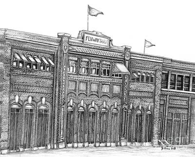 Boston Sports Parks Drawing - Fenway Park by Juliana Dube