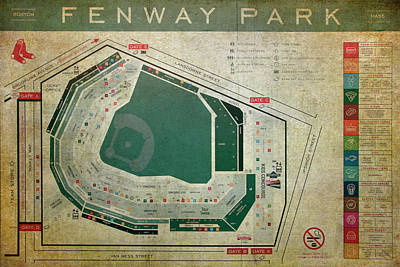 Photograph - Fenway Park Seating Chart by Joann Vitali