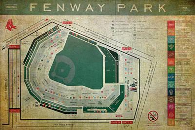 Photograph - Fenway Park Seating Chart by Joann Vitali