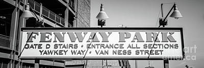 Fenway Park Photograph - Fenway Park Sign Black And White Panoramic Photo by Paul Velgos