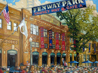 Crowds Painting - Fenway Summer by Gregg Hinlicky
