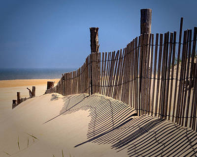 Fenwick Dune Fence And Shadows Art Print