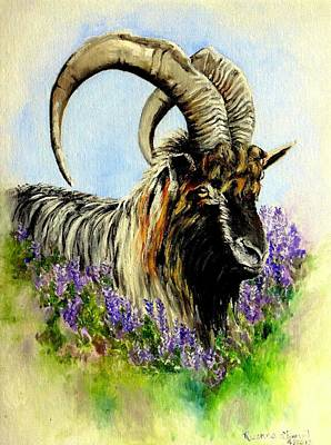 Painting - Feral Highland Buck In Heather by Ruanna Sion Shadd a'Dann'l Yoder