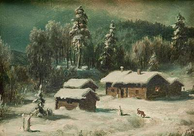 Bath Time Rights Managed Images - Ferdinand Von Wright, Winter Landscape. Royalty-Free Image by Ferdinand Von Wright