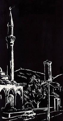 American City Scene Drawing - Ferhat-pasha Mosque  by Ramo Sabanovic