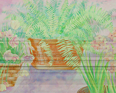 Fern Basket Art Print by Linda Eades Blackburn