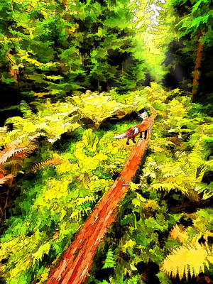 Digitally Manipulated Digital Art - Fern Forest Path In Autumn by ABeautifulSky Photography