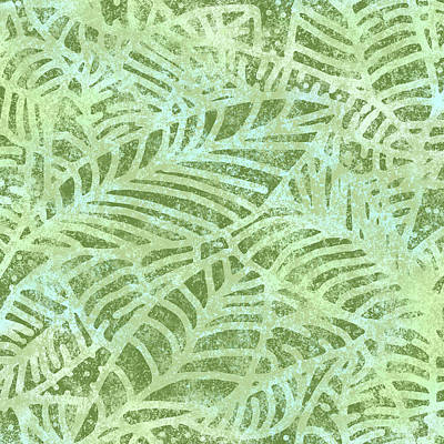 Digital Art - Fern Green Fossil Leaves by Karen Dyson