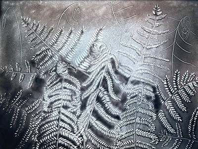 Drawing - Fern Leaves. Sand Art by Elena Vedernikova