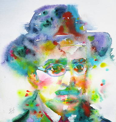 Painting - Fernando Pessoa - Watercolor Portrait by Fabrizio Cassetta
