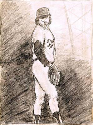 Pitcher Drawing - Fernando Valenzuela by Mel Thompson