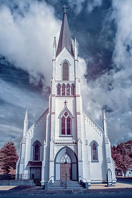 Art Print featuring the photograph Ferndale Church In Infrared by Greg Nyquist