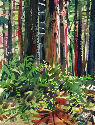 Fern Painting - Ferns And Redwoods by Donald Maier