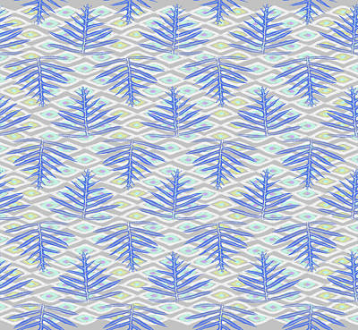 Digital Art - Ferns On Diamonds Indigo Gray by Karen Dyson