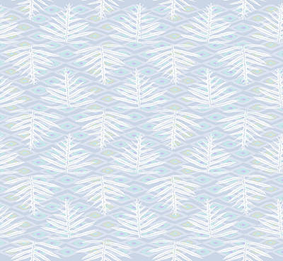 Digital Art - Ferns On Diamonds Lilac Gray by Karen Dyson