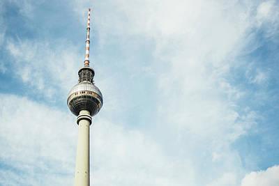 Fernsehturm Against Blue Sky Art Print by Pati Photography