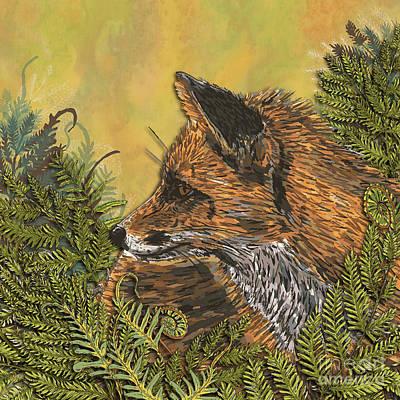 Digital Art - Ferny Fox by Lotti Brown