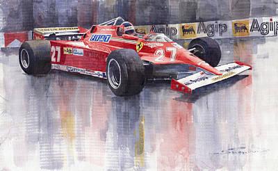 Racing Painting - Ferrari 126c 1981 Monte Carlo Gp Gilles Villeneuve by Yuriy  Shevchuk