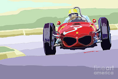 Racing Car Digital Art - Ferrari 156 Dino 1962 Dutch Gp by Yuriy  Shevchuk