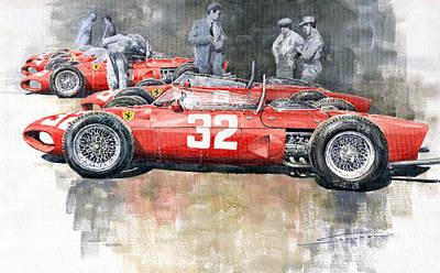 Ferrari 156 Italian Gp 1961 Print by Yuriy  Shevchuk