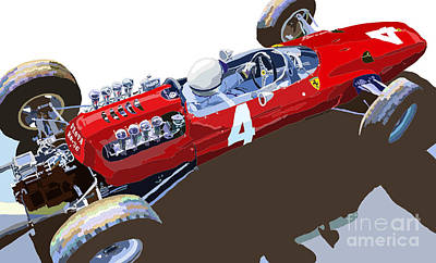 Racing Car Digital Art - Ferrari 158 F1 1965 Dutch Gp Lorenzo Bondini by Yuriy  Shevchuk