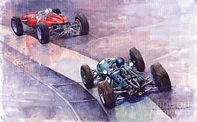 J Painting - Ferrari 158 Vs Brabham Climax German Gp 1964 by Yuriy  Shevchuk