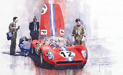 1966 Painting - Ferrari 206 Sp Dino 1966 Nurburgring Pit Stop by Yuriy Shevchuk