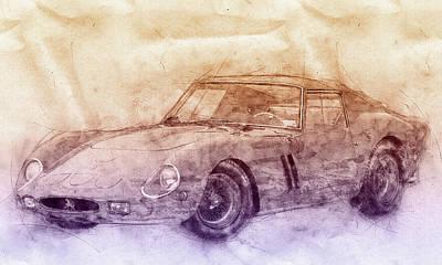 Sports Mixed Media - Ferrari 250 GTO 2 - Grand Touring Car - Sports Car - Automotive Art - Car Posters by Studio Grafiikka