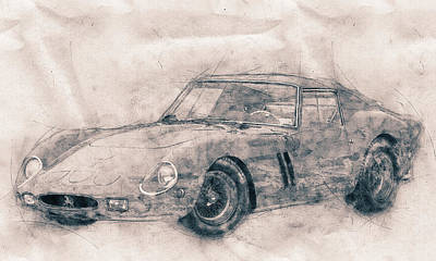 Sports Mixed Media - Ferrari 250 GTO - Grand Touring Car - Sports Car - Automotive Art - Car Posters by Studio Grafiikka