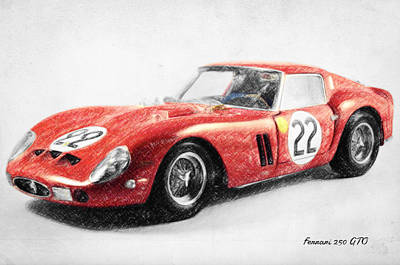 Cobra Drawing - Ferrari 250 Gto by Taylan Apukovska