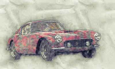 Mixed Media Royalty Free Images - Ferrari 250GT Berlinetta 1 - Tour de France - Sports Car - Automotive Art - Car Posters Royalty-Free Image by Studio Grafiikka