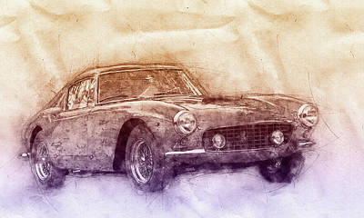 Mixed Media Royalty Free Images - Ferrari 250GT Berlinetta 2 - Tour de France - Sports Car - Automotive Art - Car Posters Royalty-Free Image by Studio Grafiikka